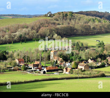 An English Rural Hamlet of Fingest in the Chiltern Hills bathed in Winter sunshine - Stock Photo
