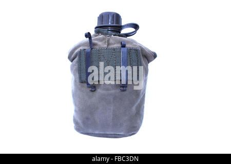 Army Water Canteen On Isolated - Stock Photo