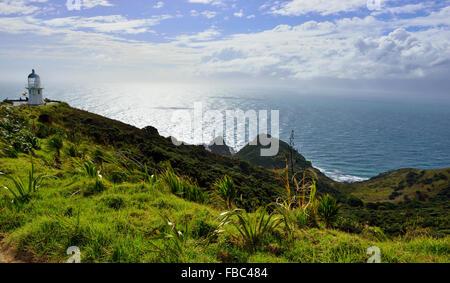 Cape Reinga/Te Rerenga Wairua,  light house at the  northern tip of New Zealand - Stock Photo