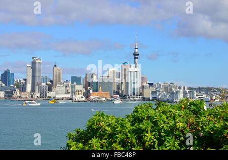 Auckland City New Zealand , the iconic view from the north shore side of the harbour at Queenspoint Devon point - Stock Photo