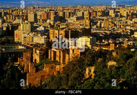 Malaga.Andalusia. Spain:View over Alcazaba to cathedral and city - Stock Photo
