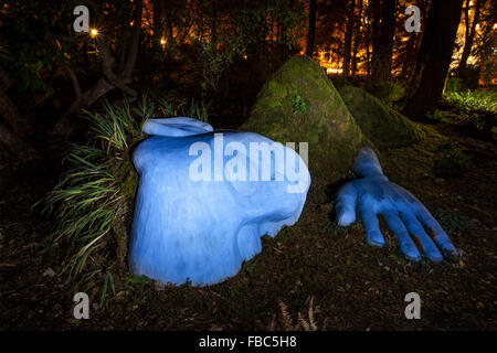 Moss Lady statue in Beacon Hill Park at night-Victoria, British Columbia, Canada. - Stock Photo