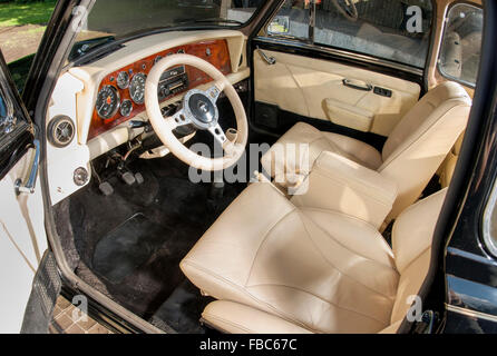 classic retro car custom interior white with green leather seats stock photo royalty free. Black Bedroom Furniture Sets. Home Design Ideas