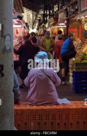 Mercat de La Boqueria. Barcelona's most famous food market located on La Rambla. Barcelona. Spain - Stock Photo