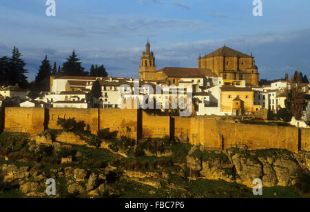 City walls and Church ``Santa Maria la Mayor´´. Ronda. Málaga province, Spain - Stock Photo