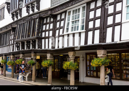 Detail of Dartmouth's Historic Butterwalk; Museum and Shops with Carved Wooden Fascia and Granite Pillars; Dartmouth, - Stock Photo