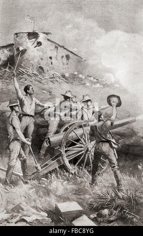 Capron's battery in action at The Battle of Las Guasimas, Cuba, June 24, 1898, the first land engagement of the - Stock Photo