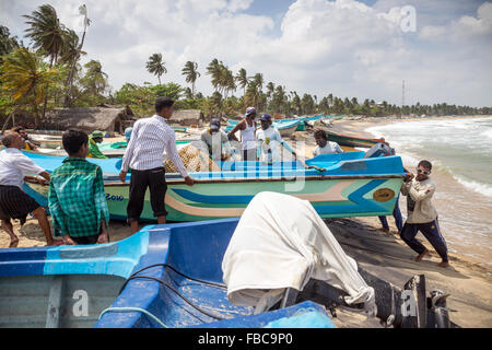 fishing boats on the Arugam bay, Ampara district, Eastern Provincie, Sri Lanka - Stock Photo