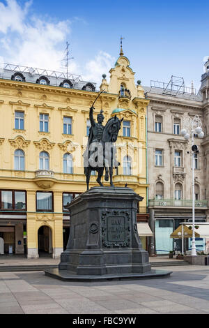 Monument of Ban Jelacic on central square in Zagreb, Croatia - Stock Photo