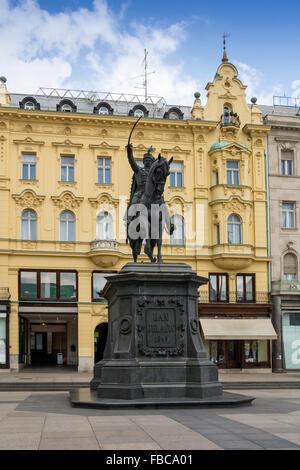 Monument of Ban Jelacic on central square in Zagreb, Croatia - Stock Photo