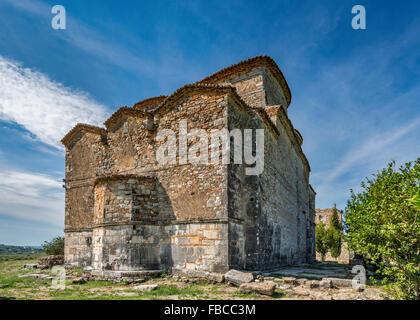 St. Nicholas Monastery Church, 13th century, near village of Mesopotam, Albania - Stock Photo