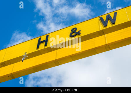 Close up of Goliath crane in the Harland & Wolff shipyard in Belfast where the Titanic was built. - Stock Photo