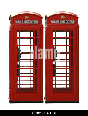 Two classic red British telephone boxes isolated on a white background - Stock Photo
