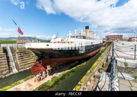 SS Nomadic sits in its final resting place in Belfast's Titanic Quarter. - Stock Photo