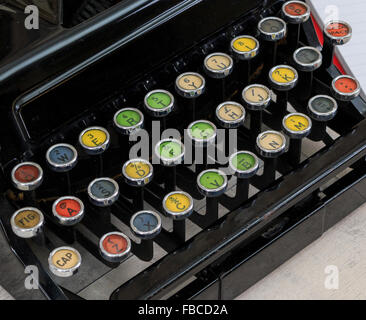 Close up on old colorful typewriter keys - Stock Photo
