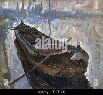 Mud Boat by Albert Baertsoen 1866-1922 Flemish Belgian Belgium - Stock Photo