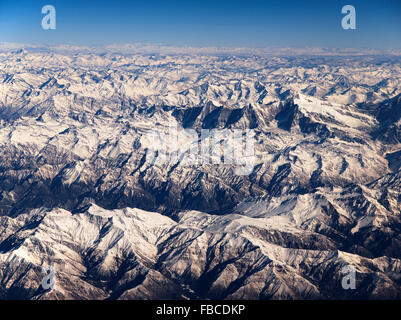 Aerial view of Himalaya Nepal - Stock Photo