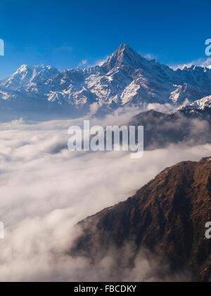 Aerial view of foothills and mountains in Annapurna Region Nepal - Stock Photo