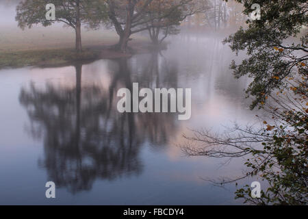Early morning autumn mist and tree reflections in the river Dee by the Horseshoe Falls in Llangollen Wales - Stock Photo