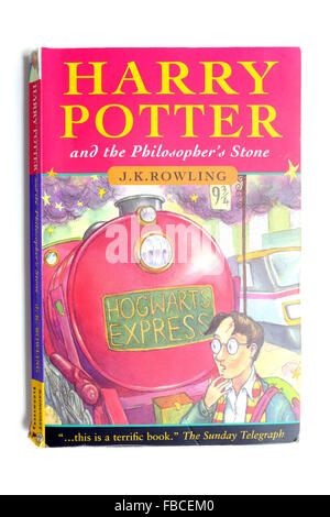 Harry Potter and the Philosopher's Stone photographed against a white background. - Stock Photo