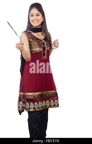 1 indian Young Woman diwali Festival Playing Fire Cracker - Stock Photo