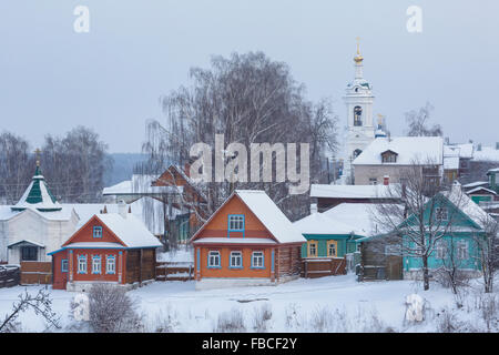 View from Cathedral Mountain of the Ples ancient Russian town in Ivanovo region on the banks of the river Volga, - Stock Photo