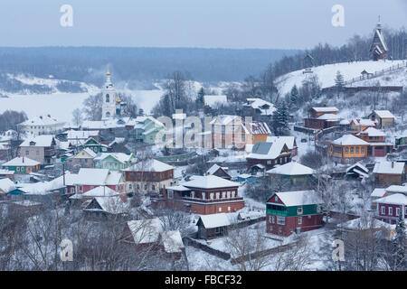 Winter view from Cathedral Mountain of the Ples ancient Russian town in Ivanovo region on the banks of the river - Stock Photo