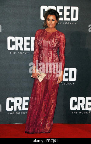 London, UK, 12 January 2016, Jessica Wright  attends the European premiere of Creed at Empire Leicester Square. - Stock Photo