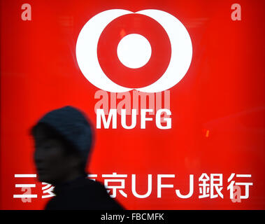 A signboard of the Bank of Tokyo-Mitsubishi UFJ is seen on January 14, 2016 in Tokyo, Japan. Mitsubishi UFJ Financial - Stock Photo