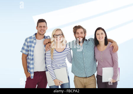 Composite image of portrait of smiling business people with arm around - Stock Photo