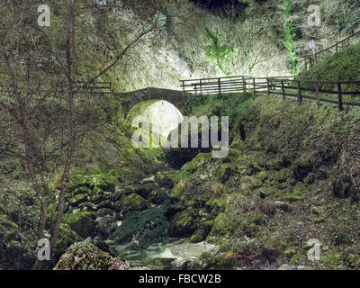 Misty night scene. Ancient bridge is countryside with stream, light behind. - Stock Photo