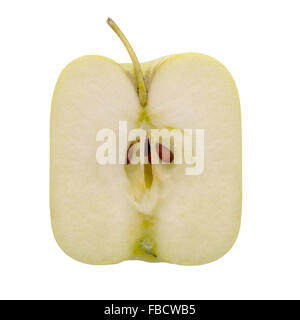 Square apple, Golden Delicious. Genetically modified food. Isolated on white. - Stock Photo