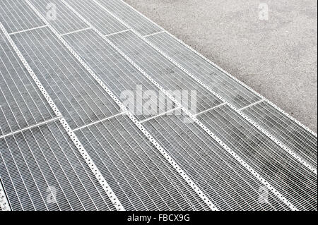 Part of a set of metallic steps as a background - Stock Photo
