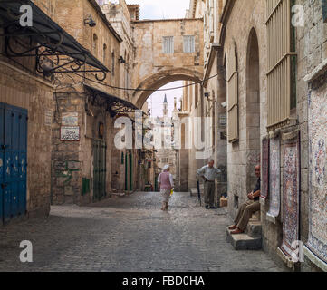 Ecce Homo Arch in the Via Dolorosa, Muslim Quarter of Old City, Jerusalem, Israel - Stock Photo