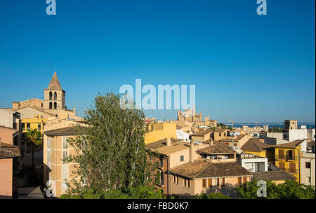Views of Palma de Majorca with the Cathedral, Majorca, Balearic Islands, Spain - Stock Photo