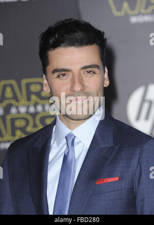Film Premiere of Star Wars: The Force Awakens  Featuring: Oscar Isaac Where: Los Angeles, California, United States - Stock Photo