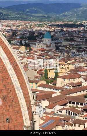Dome of Florence Cathedral with the Tempio Israelitico di Firenze (Great Synagogue of Florence) in the background. - Stock Photo