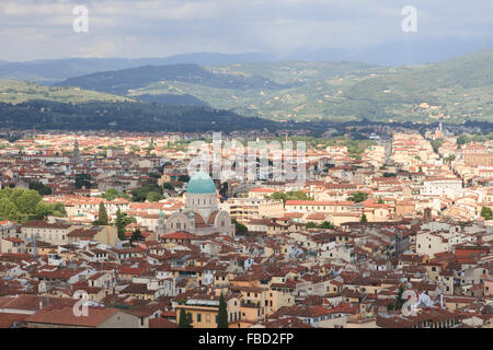 Tempio Israelitico di Firenze (Great Synagogue of Florence) in Florence, Italy, as seen from the Campanile di Giotto. - Stock Photo