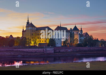 Hartenfels Castle in Torgau, Saxony, Germany - Stock Photo