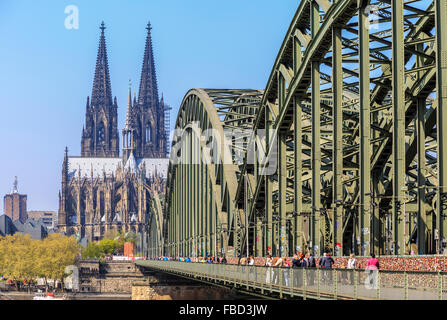 Cologne Cathedral and Hohenzollern Bridge, Cologne, Germany - Stock Photo