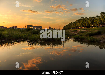 Banks of River Rhine, Cologne, Germany - Stock Photo