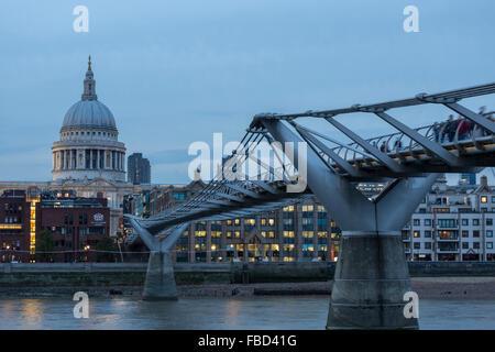 St Paul's Cathedral and Millennium Bridge, London, United Kingdom - Stock Photo