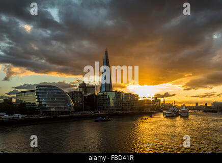 The City Hall and The Shard, London, United Kingdom - Stock Photo