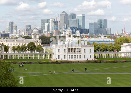National Maritime Museum, Greenwich and Canary Wharf office complex, London, United Kingdom - Stock Photo