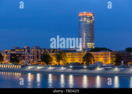 Rhine promenade, LVR tower,  Cologne, Germany - Stock Photo