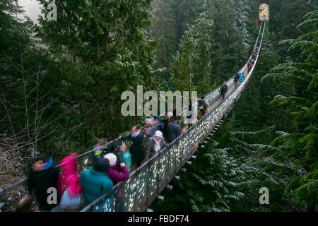 Capilano Suspension Bridge, Vancouver, British Columbia, Canada - Stock Photo