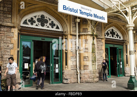 Bristol Temple Meads railway station main entrance, UK - Stock Photo