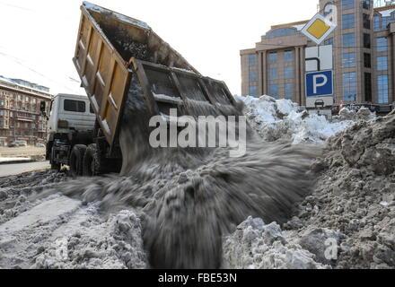 Moscow, Russia. 14th Jan, 2016. Snow clearing equipment in Kudrinskaya Square. © Vyacheslav Prokofyev/TASS/Alamy - Stock Photo
