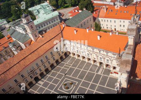 Vilnius University Great Courtyard, Observatory and the Prezidentura, Vilnius, Lithuania - Stock Photo