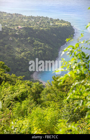 View of South West St Lucia from Gros Piton - Stock Photo
